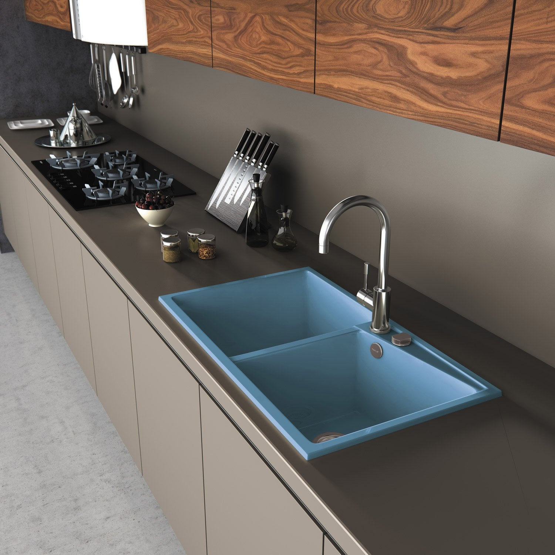 evier encastrer quartz et r sine bleu kuma 2 bacs. Black Bedroom Furniture Sets. Home Design Ideas