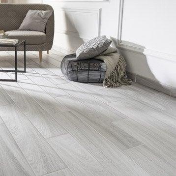 Carrelage sol et mur blanc effet bois Quebec l.14.5 x L.85 cm