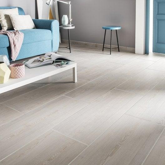 Carrelage sol et mur blanc effet bois aspen x cm for Carrelage sol mur