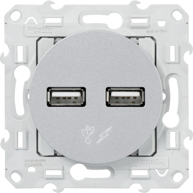 Prise Chargeur Double Usb Odace Schneider Electric Gris Aluminium