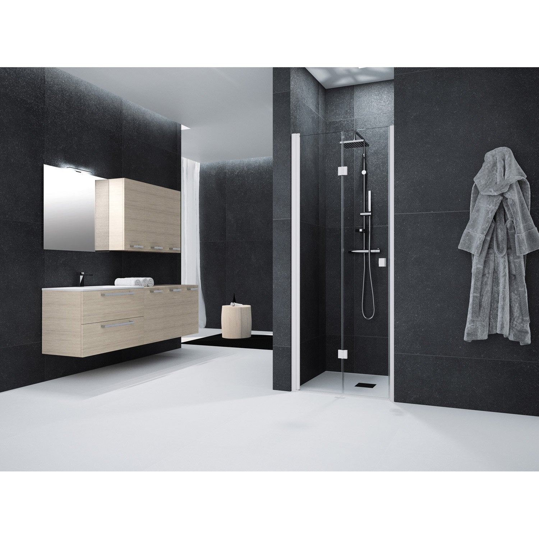 porte de douche pivot pliante 70 cm transparent neo leroy merlin. Black Bedroom Furniture Sets. Home Design Ideas