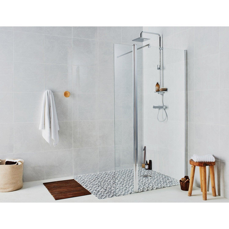 Paroi de douche à l'italienne, l.90 cm + l.30 cm verre transparent