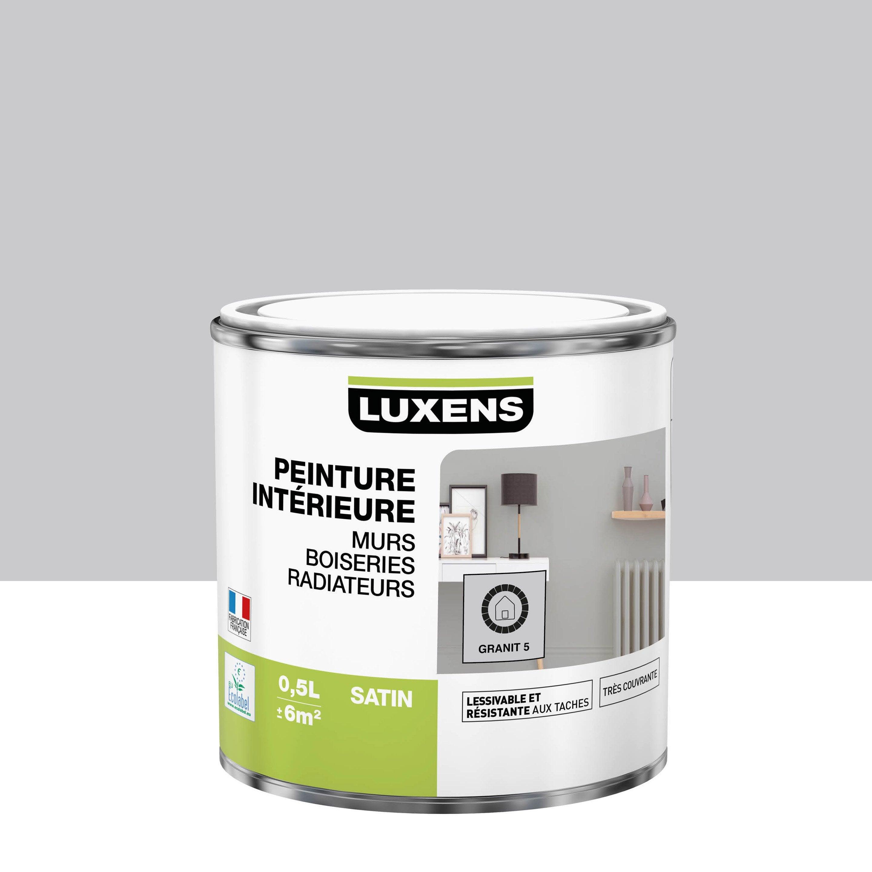 Peinture, mur, boiserie, radiateur, Multisupports LUXENS, granit 5, satin, 0.5 l
