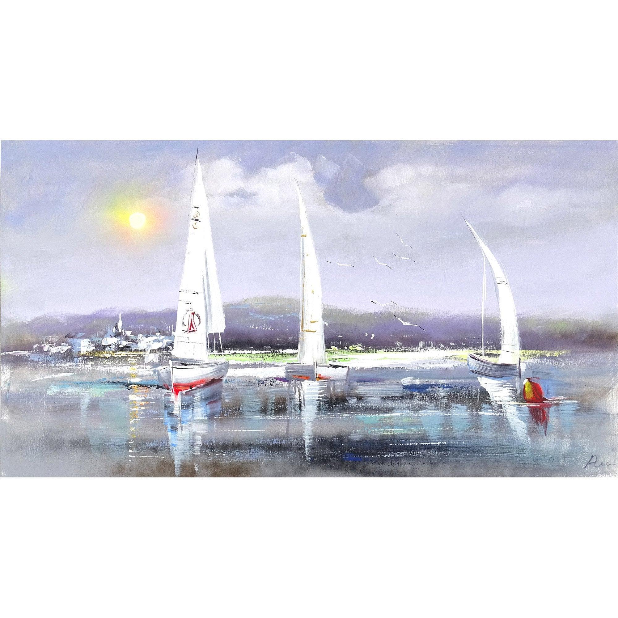 Toile peinte Bord de mer 8, multicolore l.110 x H.60 cm