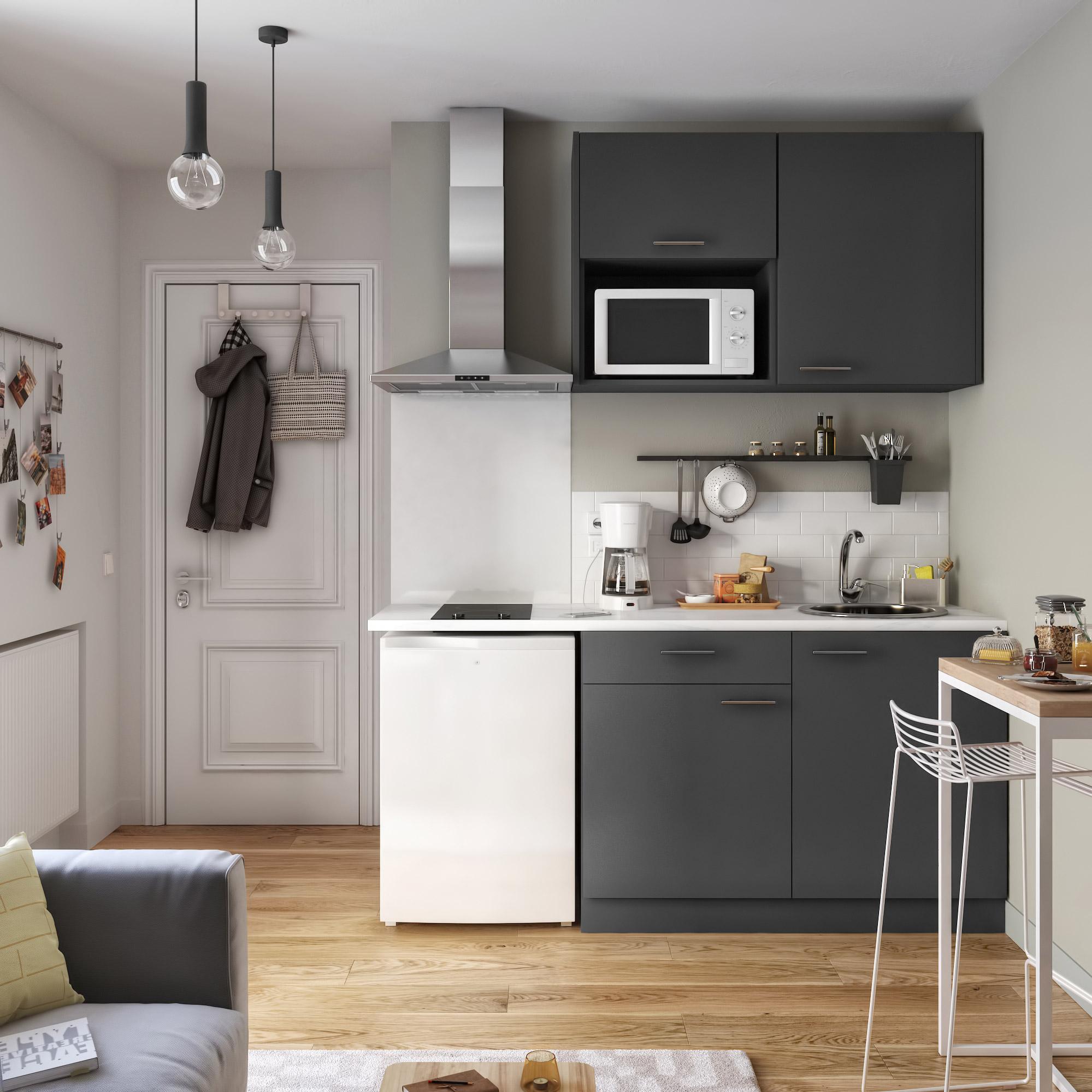 Cuisine Sofia gris foncé mat, l.11 cm avec meuble haut et bas