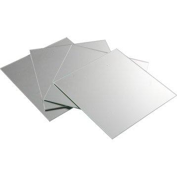 Lot de 4 miroirs non lumineux adhésifs carrés l.20 x L.20.5 cm
