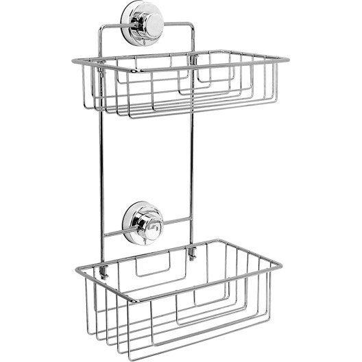 Etag re de bain douche d 39 angle simply lock ventouses chrom sensea - Accessoires douche leroy merlin ...
