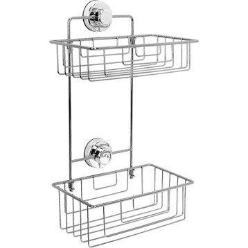 Etagère de bain / douche d'angle à ventouser, chromé, Simply lock