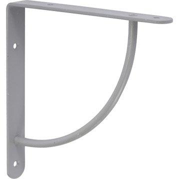 Equerre Bi bop acier epoxy gris, H.18 x P.18 cm