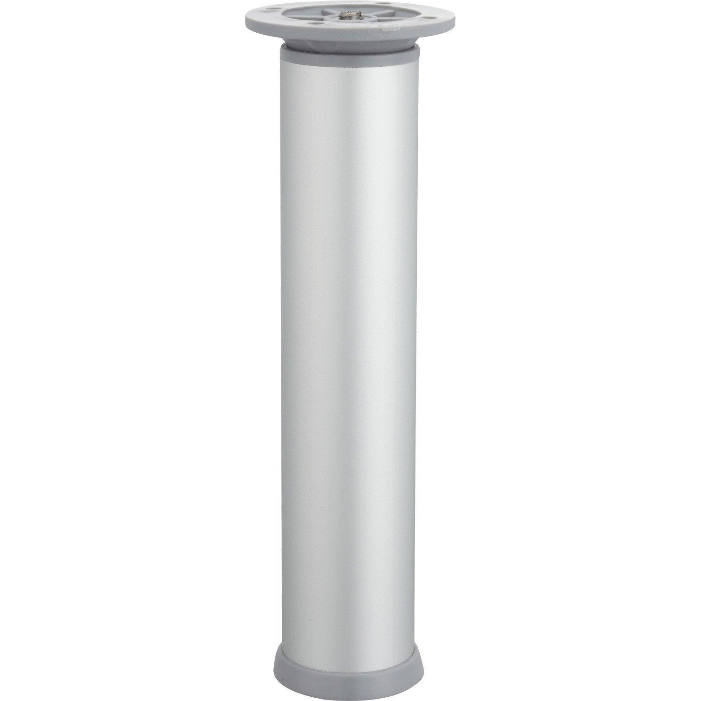 Pied De Meuble Cylindrique Reglable Acier Mat Gris De 20 A 23 Cm