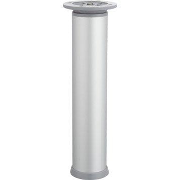 Pied de meuble cylindrique réglable acier mat gris, de 20 à 23 cm