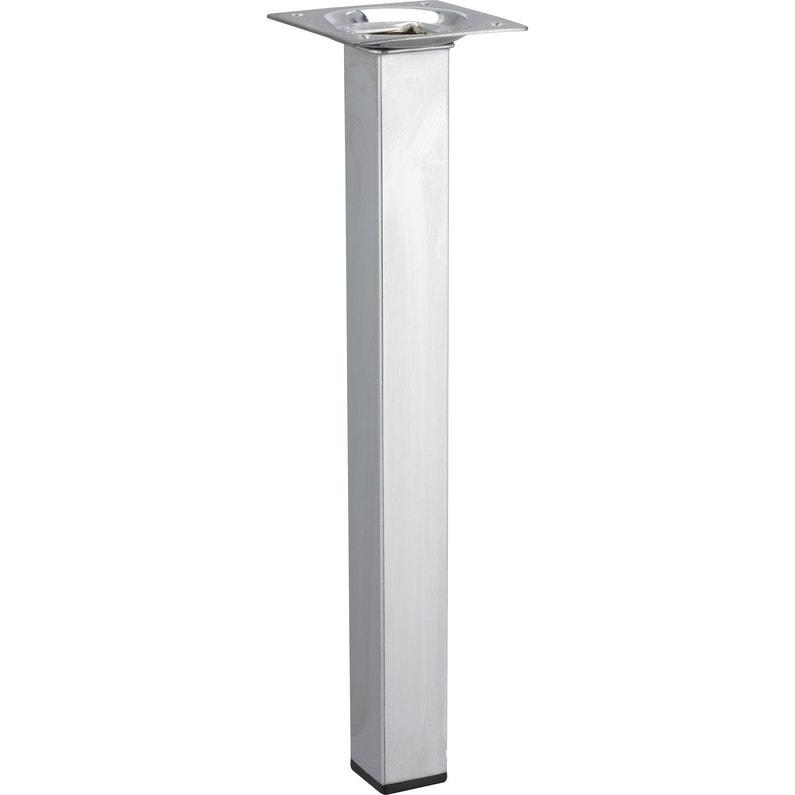 Pied De Table Basse Carré Fixe Acier Chromé Gris 25 Cm
