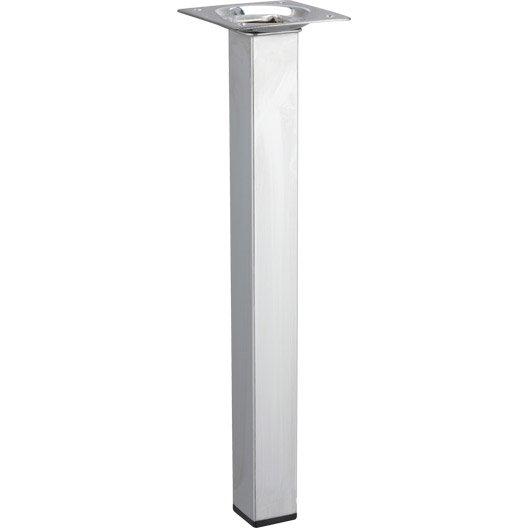 Pied de table basse carr fixe acier chrom gris 25 cm for Pietement de table basse