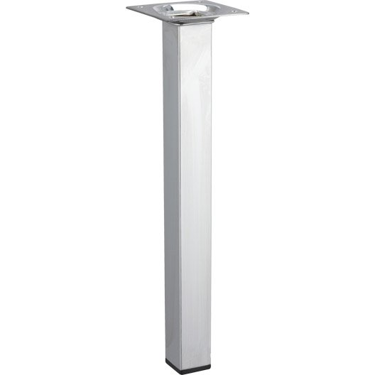 Pied de table basse carr fixe acier chrom gris 25 cm leroy merlin - Pied de table central leroy merlin ...
