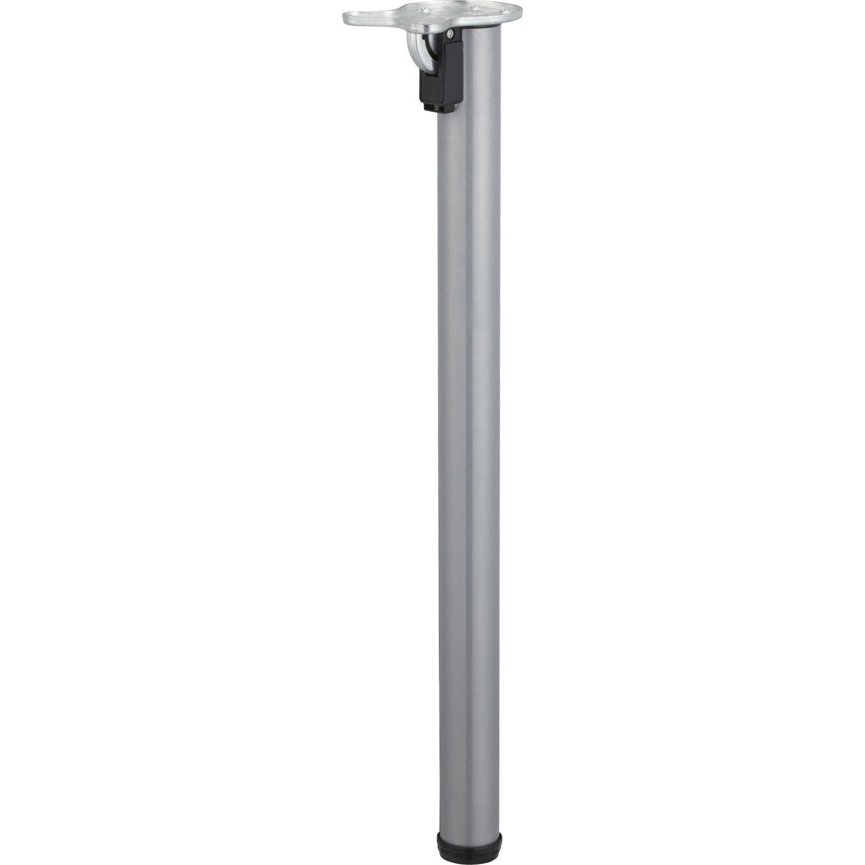 pied de table cylindrique rabattable acier poxy gris 71 cm leroy merlin. Black Bedroom Furniture Sets. Home Design Ideas