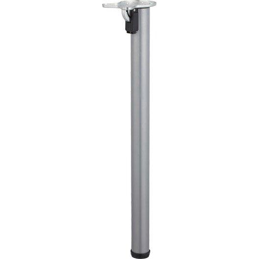 Pied De Table Cylindrique Rabattable Acier Poxy Gris 71 Cm Leroy Merlin