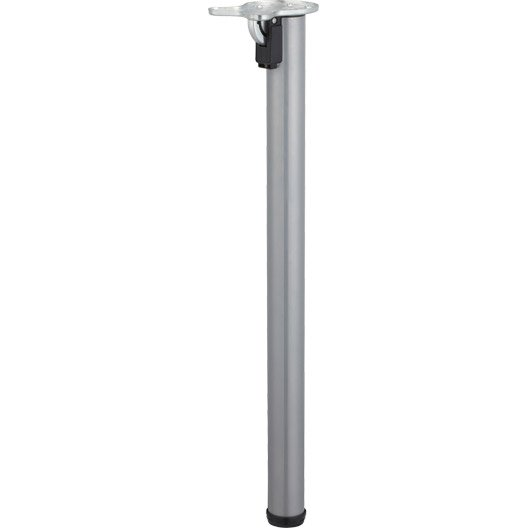 Pied de table cylindrique rabattable acier poxy gris 71 for Pieds de table 90 cm