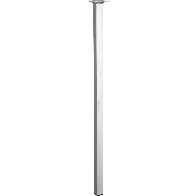 Pied de table basse carr fixe acier chrom gris 70 cm - Pied table basse acier ...