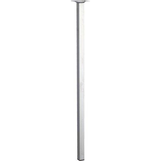 Pied de table basse carr fixe en acier chrom gris 70cm - Pieds de table leroy merlin ...