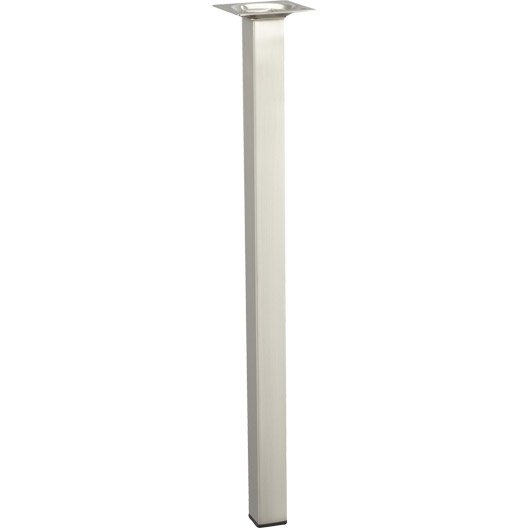 pied de table basse carr fixe acier bross gris 40 cm leroy merlin. Black Bedroom Furniture Sets. Home Design Ideas