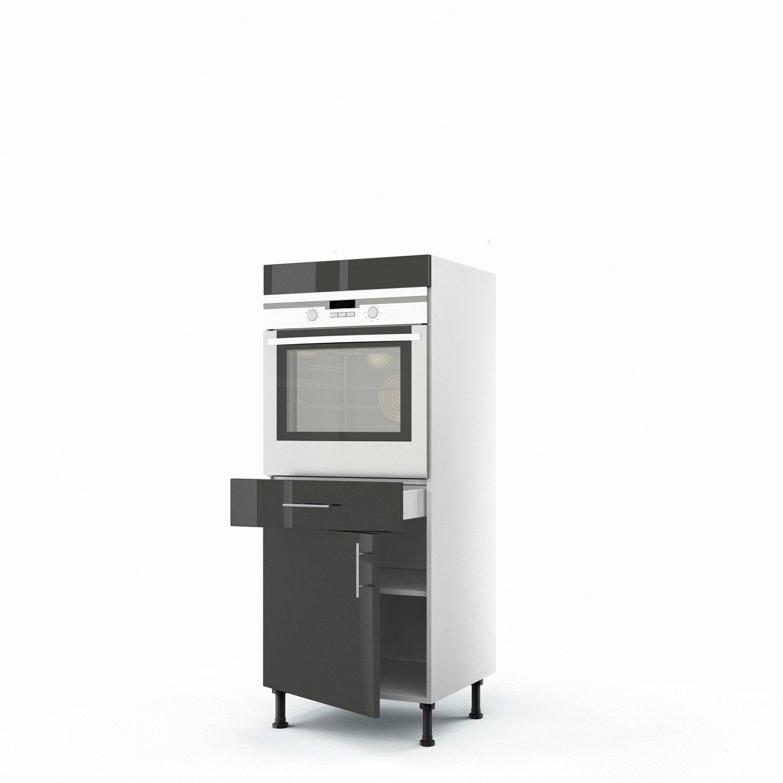 demicolonne gris four porte tiroir rio h x l x p cm with four encastrable avec porte tiroir. Black Bedroom Furniture Sets. Home Design Ideas