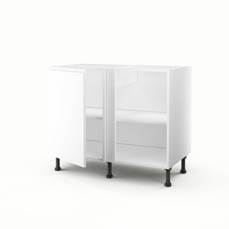 meuble de cuisine bas d 39 angle blanc 1 porte graphic x x cm leroy merlin. Black Bedroom Furniture Sets. Home Design Ideas