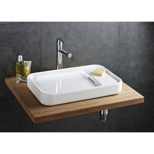 vasque poser gr s maill x cm blanc sarreguemines pastille leroy merlin. Black Bedroom Furniture Sets. Home Design Ideas