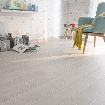 Carrelage sol et mur blanc effet bois Aspen l.14.5 x L.85 cm