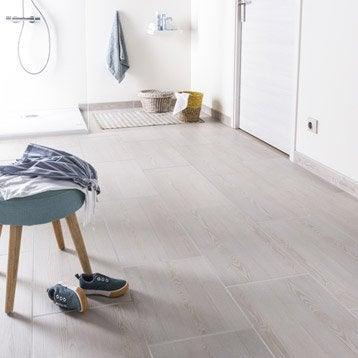Carrelage sol et mur blanc effet bois Aspen l.31 x L.60 cm