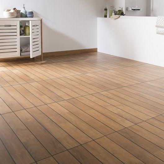 Carrelage sol et mur teak effet bois caravelle x for Joint carrelage leroy merlin