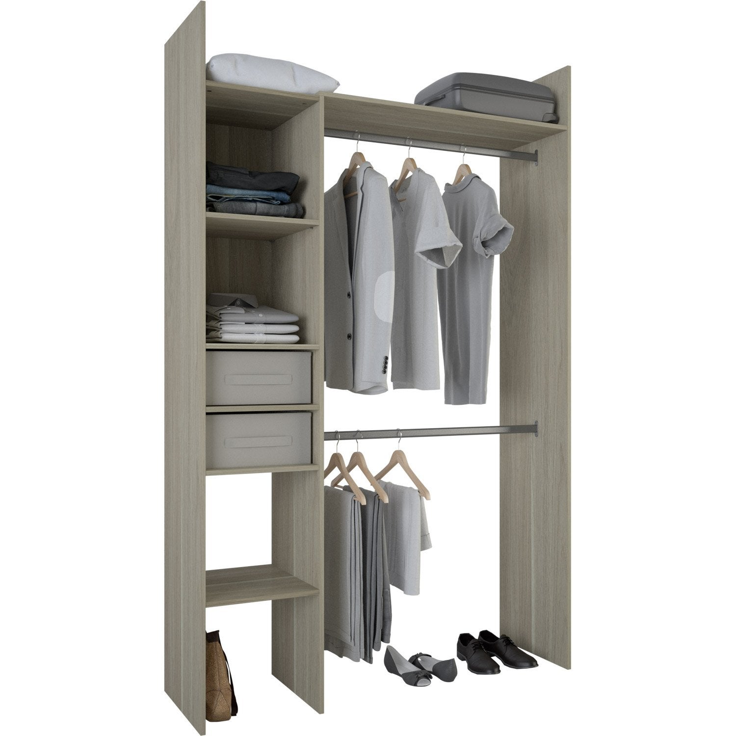 kit dressing effet ch ne naturel compact x x cm leroy merlin. Black Bedroom Furniture Sets. Home Design Ideas