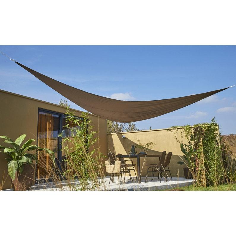 Voile d\'ombrage triangulaire brun bistro L.500 x l.500 cm