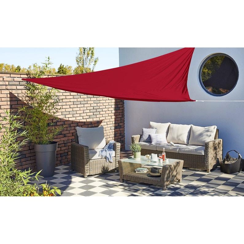 Voile d\'ombrage triangulaire rouge carmen L.360 x l.360 cm