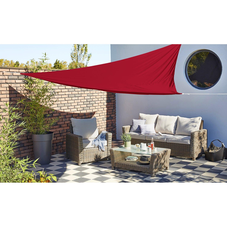 Voile d\'ombrage triangulaire rouge carmen L.360 x l.360 cm | Leroy ...