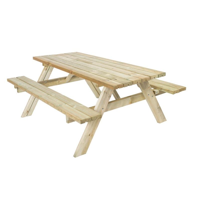 Table de jardin Forestière rectangulaire naturel 6 personnes | Leroy ...