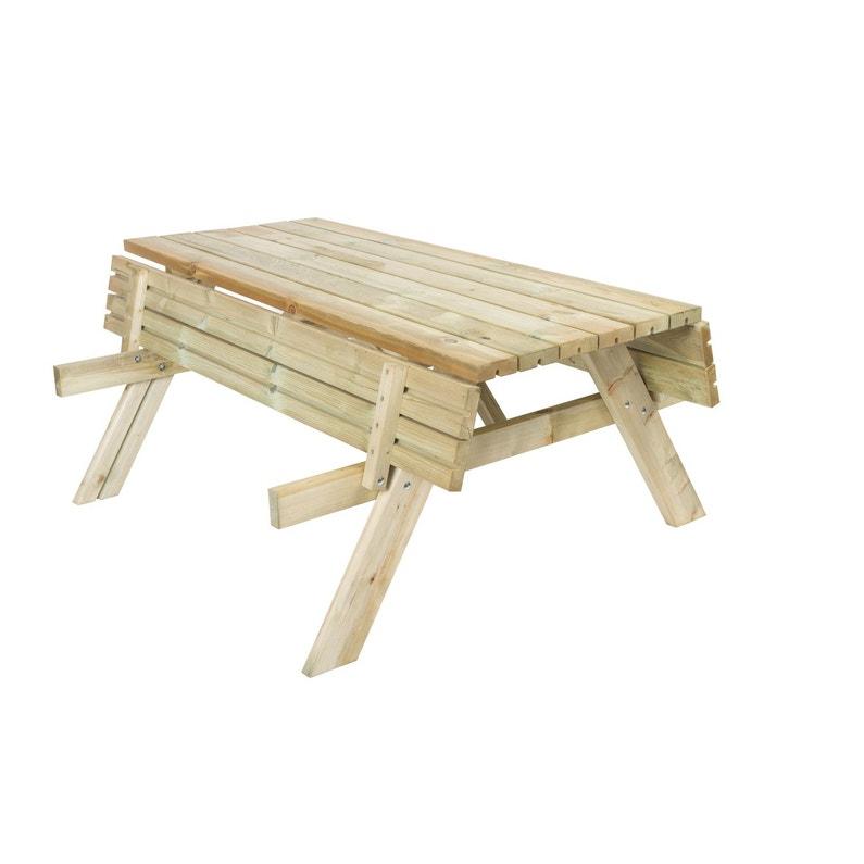 Table de jardin de repas Forestière rectangulaire naturel 6 ...
