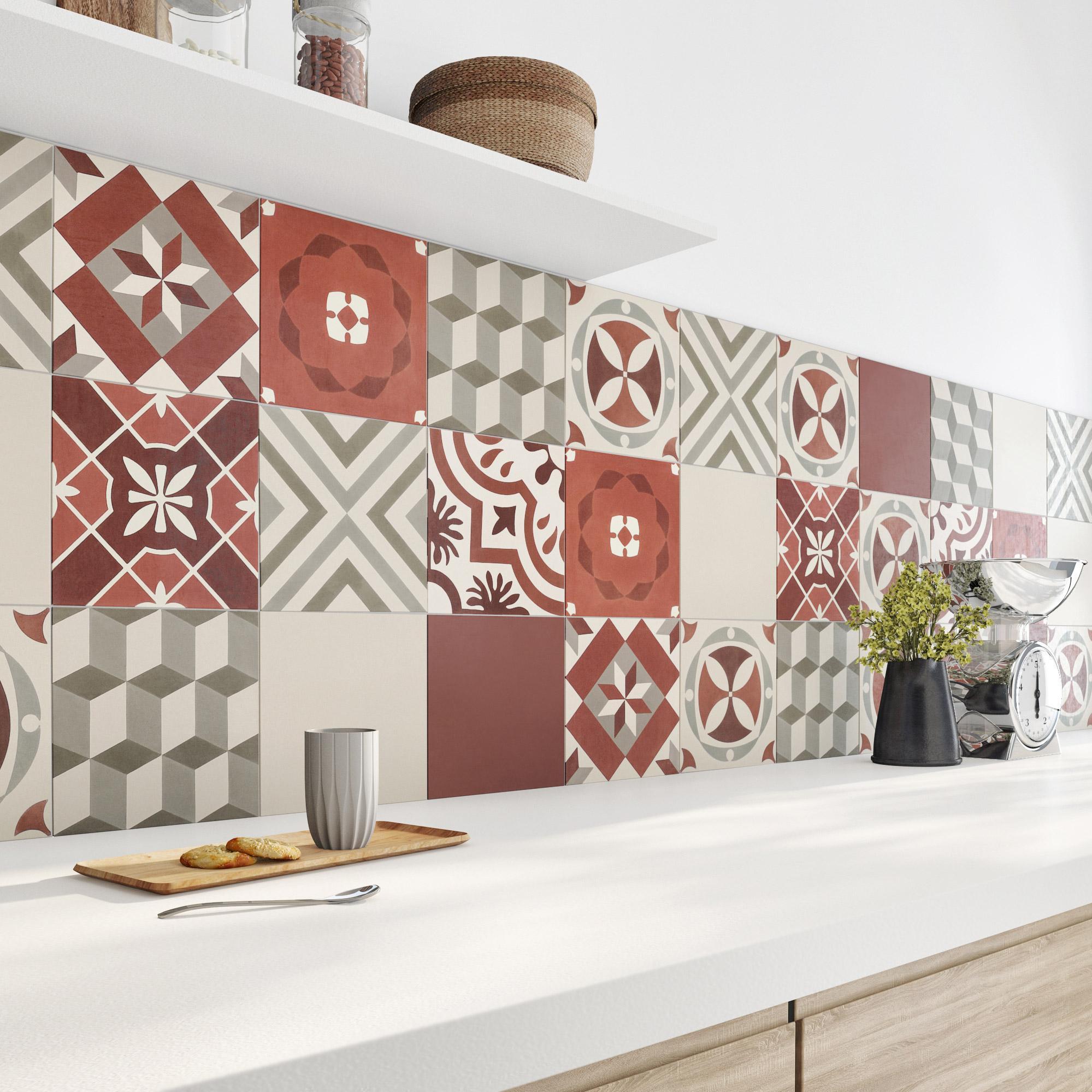 Carreau de ciment mur rouge Belle epoque l.20 x L.20 cm