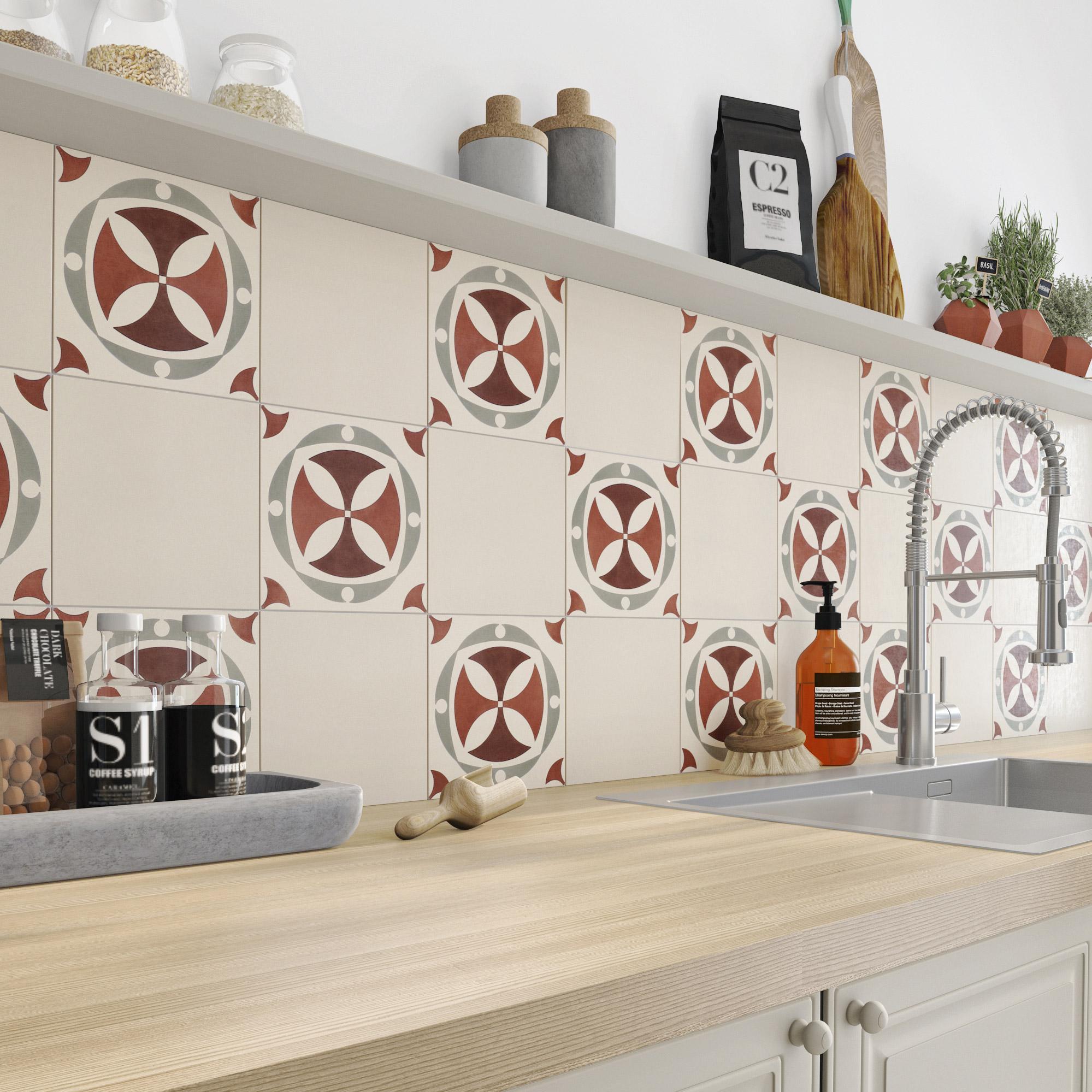 carreau de ciment mur rouge belle epoque x cm. Black Bedroom Furniture Sets. Home Design Ideas