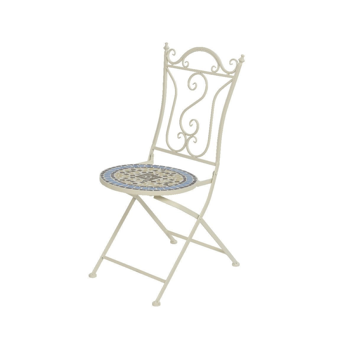 Chaise de jardin en fer Nice mosaïque blanc cassé mosaïqué | Leroy ...