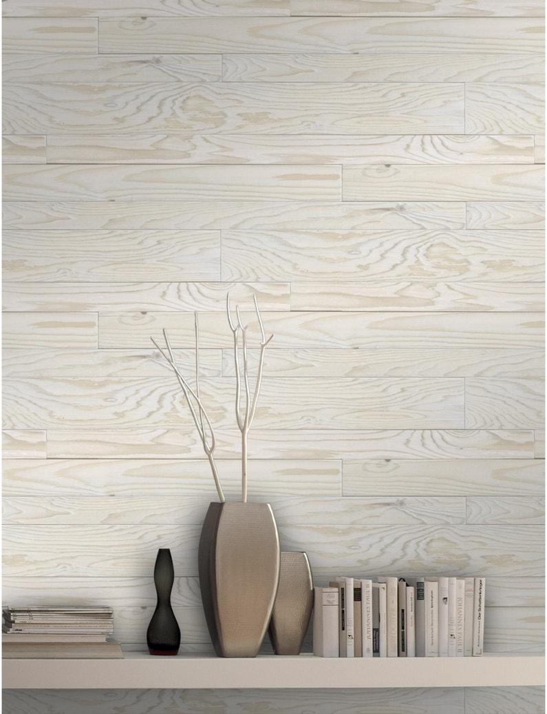 Papier Peint Trompe L Oeil Plafond papier peint intissé bois fumé blanc