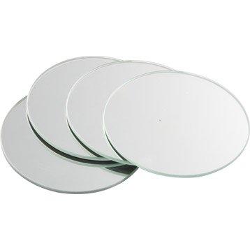 Lot de 4 miroirs non lumineux adhésifs ronds l.10 x L.10 cm