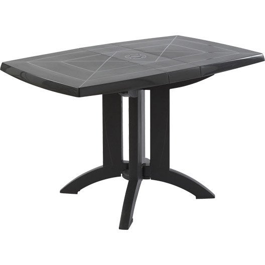 Table de jardin grosfillex v ga rectangulaire anthracite 4 personnes leroy merlin Table de jardin plastique taupe