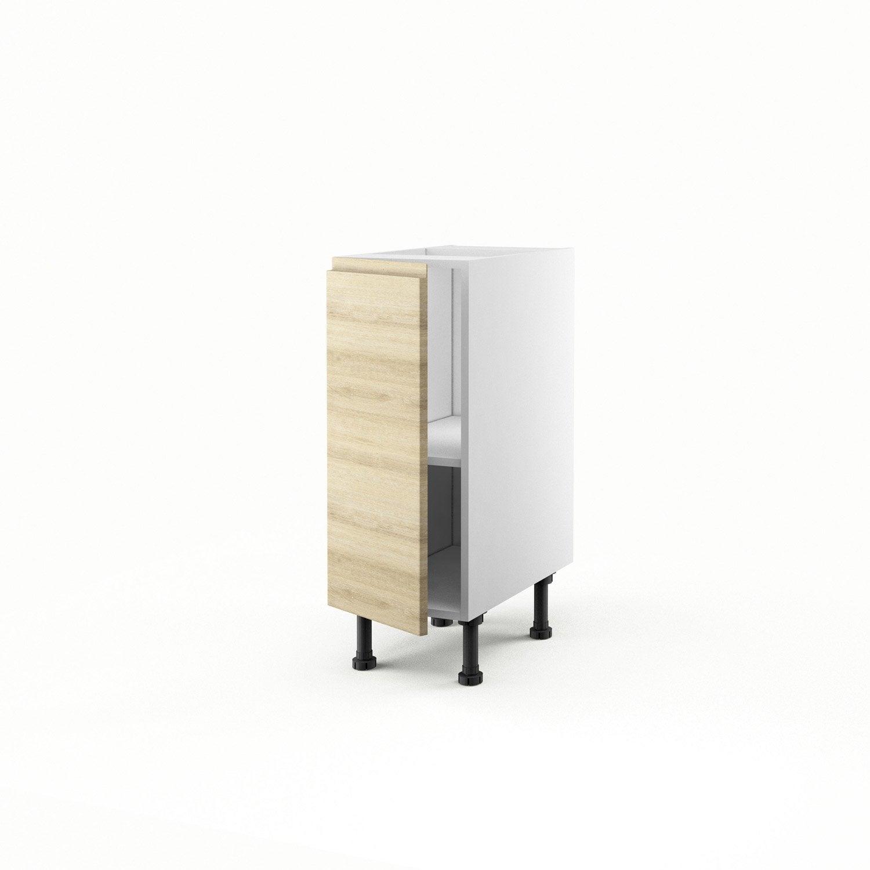 Meuble de cuisine bas d cor ch ne blanchi 1 porte graphic - Meuble cuisine bas 30 cm ...
