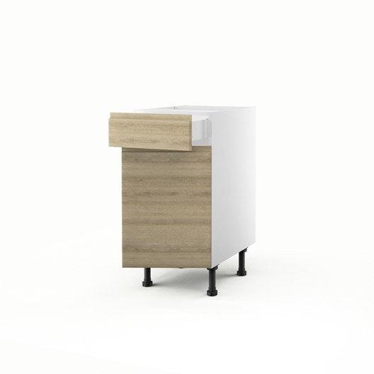 Meuble de cuisine bas d cor ch ne 1 porte 1 tiroir graphic for Meuble bas cuisine largeur 35 cm
