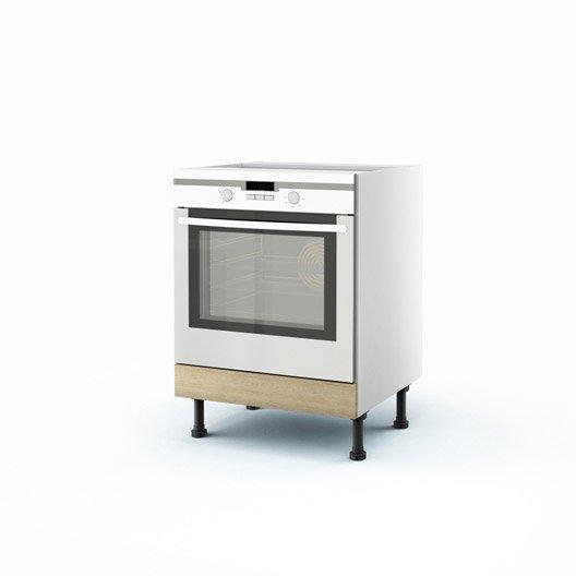 Meuble de cuisine bas d cor ch ne blanchi four graphic h - Meuble cuisine 70 cm largeur ...