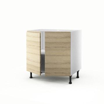 meuble de cuisine bas dcor chne blanchi 2 portes graphic h70 x l