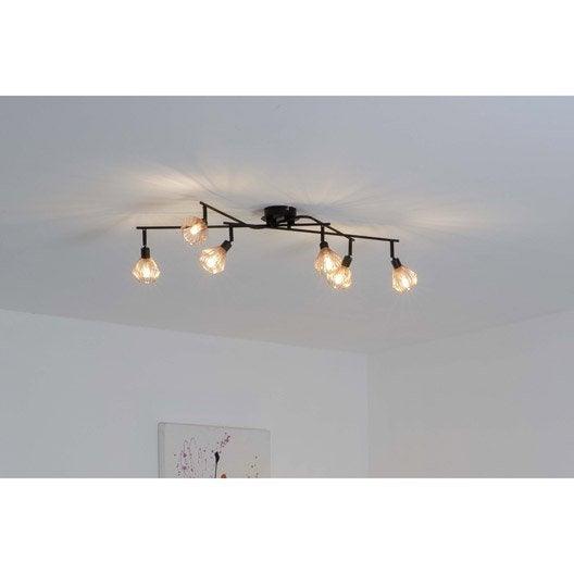 plafonnier 6 spots industriel dalma 6 xg9 noir brilliant leroy merlin. Black Bedroom Furniture Sets. Home Design Ideas
