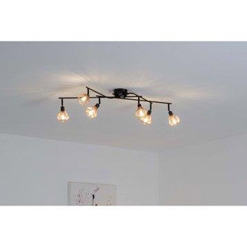 Plafonnier 6 spots sans ampoule, 6 x G9, noir Dalma BRILLIANT