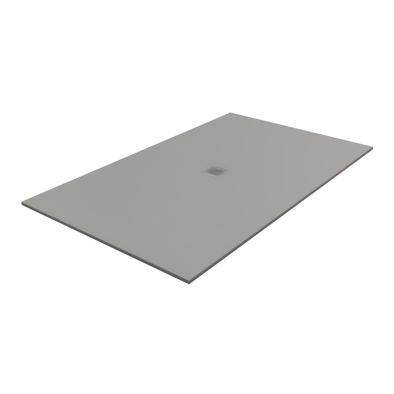 Receveur de douche rectangulaire L.170 x l.80 cm, pierre gris Kioto2 ...