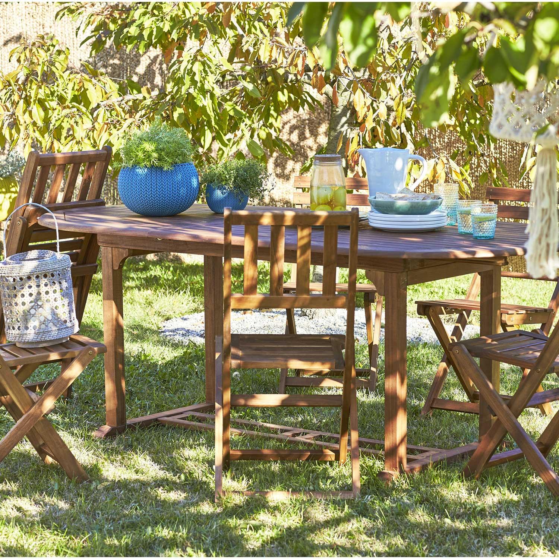 Table de jardin NATERIAL Porto octogonale brun 6 personnes ...